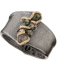 Alexis Bittar Hammered Cuff with Top Stones - Lyst