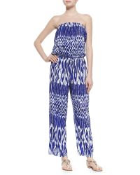 Tommy Bahama Printed Strapless Bandeau Jumpsuit - Lyst
