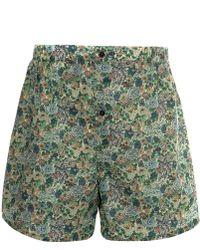 Liberty - Green Cotton Boxer Shorts - Lyst