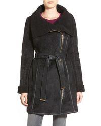 Belle By Badgley Mischka - 'joanna' Belted Asymmetrical Faux Shearling Coat - Lyst