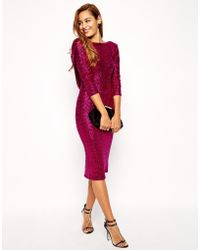 Asos Tall Sequin Cowl Back Midi Dress - Lyst