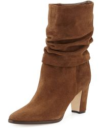 Manolo Blahnik Knight Ruched Suede Boot - Lyst