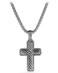 David Yurman Pavé Chevron Reversible Cross Necklace - Lyst