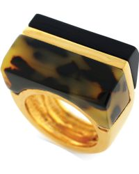 Vince Camuto - Goldtone Tortoise Block Ring - Lyst