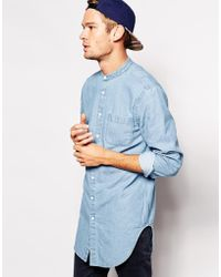 Asos Denim Shirt in Longline with Mid Wash and Grandad Collar - Lyst