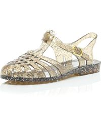 River Island Silver Glittery Jelly Shoes - Lyst
