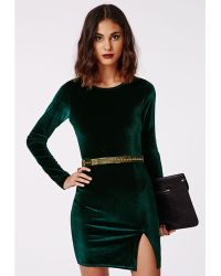 Missguided Larkin Velvet Bodycon Dress Green - Lyst