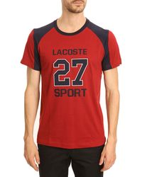 Lacoste Navy and Red Twotone Sport Print Tshirt - Lyst