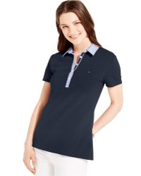 Tommy Hilfiger Contrast-Collar Polo Shirt blue - Lyst
