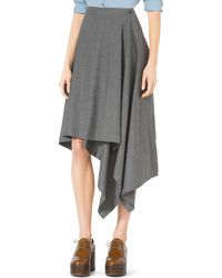 Michael Kors Asymmetric Draped Stretch-Wool Skirt - Lyst