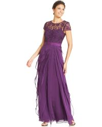 Adrianna Papell Capsleeve Lace Tiered Gown - Lyst