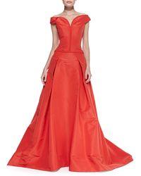 Carolina Herrera Offtheshoulder Faille Ball Gown Lipstick Red - Lyst