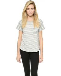 James Perse Collage Stripe Top - Heather Grey Stripe - Lyst