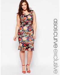 Asos Curve Co-Ord Exclusive Peplum Pencil Skirt In Jewel Rose Print - Lyst