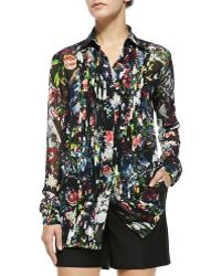 McQ by Alexander McQueen Long-Sleeve Pleat-Front Blouse - Lyst