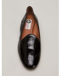 Lanvin Black Glossy Slippers - Lyst