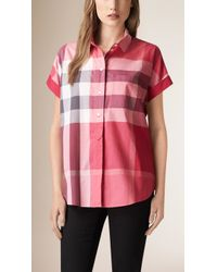 Burberry - Exploded Check Cotton Voile Shirt - Lyst