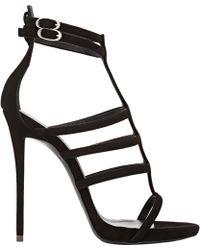 Giuseppe Zanotti Suede Strappy Sandals black - Lyst