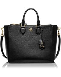 Tory Burch Robinson Pebbled Square Tote - Lyst