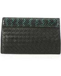 Bottega Veneta Black and Green Python Trimmed Intrecciato Leather Clutch - Lyst