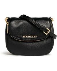 Michael Kors 'Bedford' Crossbody Leather Flap Bag black - Lyst