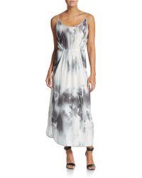 Halston Heritage Silk Floral Maxi Dress - Lyst