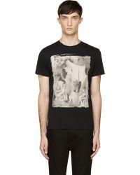 Diesel Black Sepia Cowskull Rose Print T_giso T_shirt - Lyst