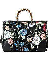 Gucci Bamboo Shopper Flora Print - Lyst