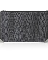 Alexander Wang Prisma Snakeskin And Leather Clutch - Lyst