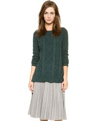 Madewell Placed Cable Boxy Pullover - Midnight Green - Lyst