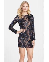 Dress the Population Women'S 'Bailey' Sequin Lace Minidress - Lyst