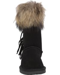 Akira Black Label - Candice Genuine Suede Fringe Fur Trim Boots - Black - Lyst