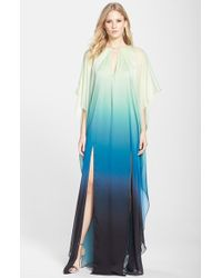 Halston Heritage Ombre Chiffon Caftan Gown - Lyst