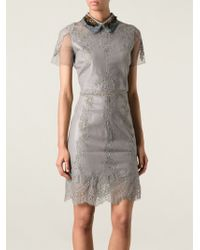 Valentino Feather Collar Lace Panel Dress - Lyst