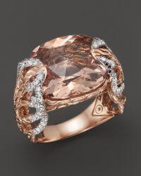 John Hardy Women'S 18K Rose Gold Batu Classic Chain Feather Diamond Pavé Ring With Morganite - Lyst