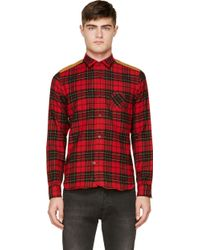 Junya Watanabe Red and Black Plaid Wool Fitted Shirt - Lyst