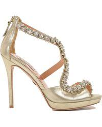 Badgley Mischka Flair-Ii Ankle Strap Peep Toe High Heel - Lyst