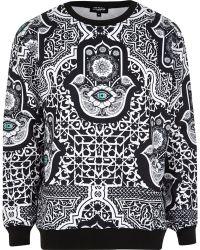 River Island Black Jaded Hamsa Printed Sweatshirt - Lyst