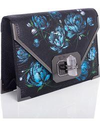 Marchesa Valentina Floral Lizard Envelope Clutch Bag blue - Lyst
