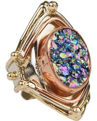 AKIRA - Hand Crafted Trimetal Drusy Set Ring - Lyst