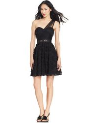 Adrianna Papell One-Shoulder Embroidered Dress - Lyst