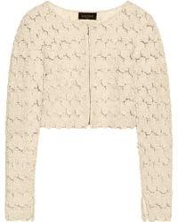 Saloni - Cropped Appliquéd Tulle Jacket - Lyst