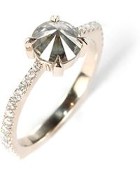 Ara Vartanian Inverted Smoky Grey Diamond And White Diamond Ring gold - Lyst