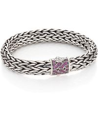John Hardy   Classic Chain Pink Sapphire & Sterling Silver Large Bracelet   Lyst