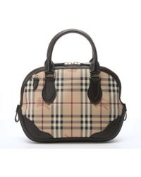 Burberry Chocolate Leather Trimmed Check Canvas 'Orchard' Small Bowling Bag - Lyst