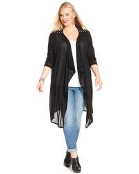 Soprano - Plus Size Long-Sleeve Studded Cardigan - Lyst