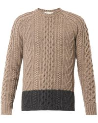 Marc Jacobs Bicolour Cableknit Wool Sweater - Lyst