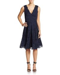 Vera Wang Flared Lace V-Neck Dress - Lyst