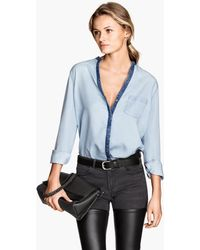 H&M Lyocell Denim Shirt - Lyst