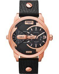 Diesel Mens Mini Daddy Black Leather Strap 54x46mm Watch - Lyst
